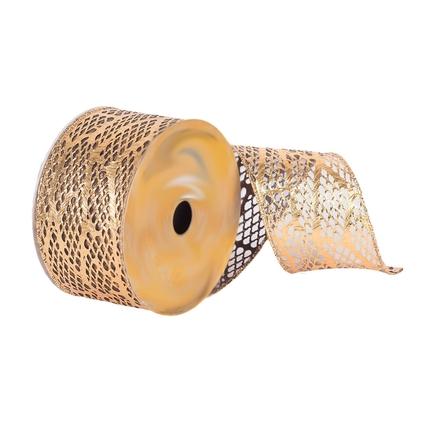 "Metallic Lace Ribbon 2.5"" Gold"