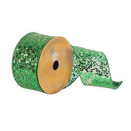 "Sequin Mesh Ribbon 2.5"" Green"