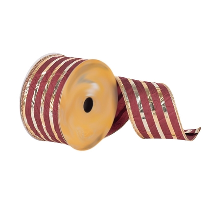 "Metallic Stripe Ribbon 2.5"" Burgundy"
