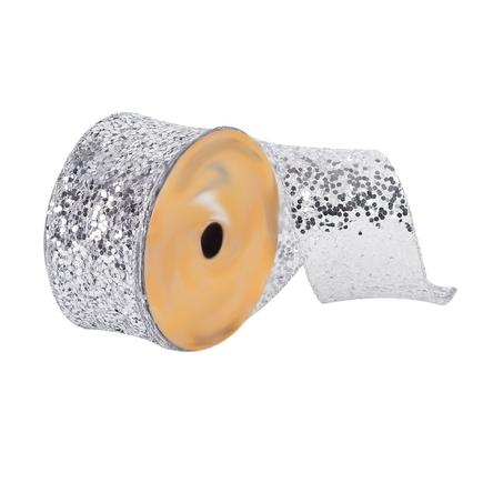 """Sequin Ribbon 2.5"""" Silver"""