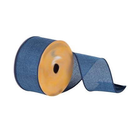 "Linen Weave Ribbon 2.5"" Blue"