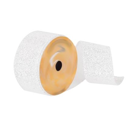 """Silver Glitter Dupioni Ribbon 2.5"""" White"""