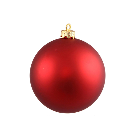 "Red Ball Ornaments 4"" Matte Set of 6"
