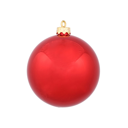 "Red Ball Ornaments 4"" Shiny Set of 6"