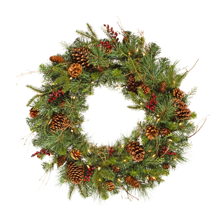 Holiday Pine Wreath Prelit 30""