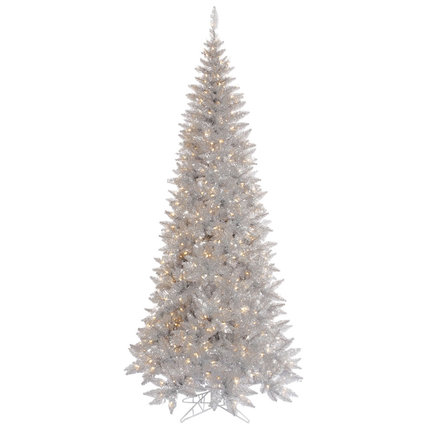 9' Silver Fir Slim w/ LED Lights