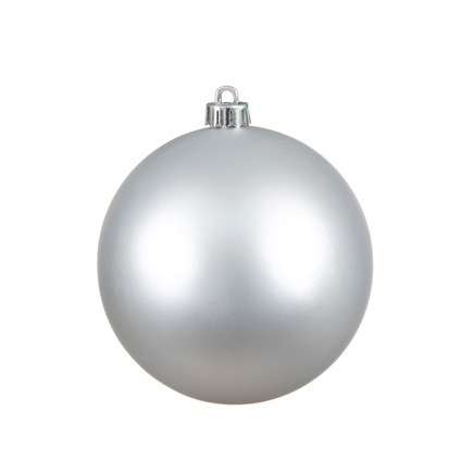 "Silver Ball Ornaments 8"" Matte Set of 4"
