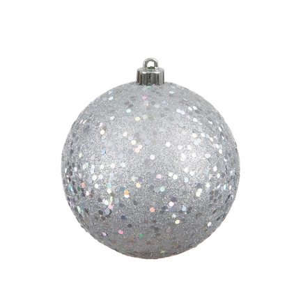 """Silver Ball Ornaments 6"""" Sequin Set of 4"""