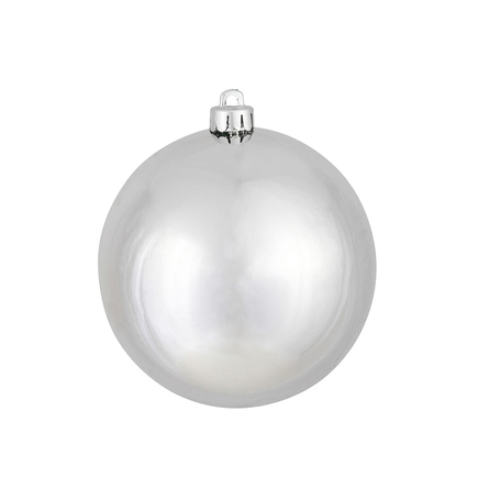"Silver Ball Ornaments 8"" Shiny Set of 4"