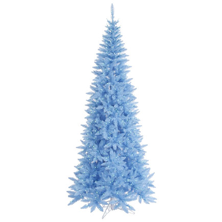 9' Sky Blue Fir Slim w/ LED Lights