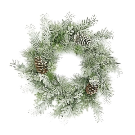 Snowy Forest Wreath 24""