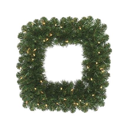 "Square Fir Wreath LED 24"""