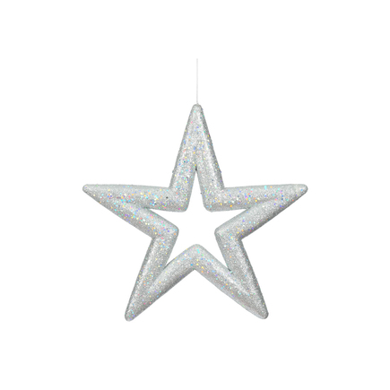 "Stella Outdoor Glitter Star 14"" Set of 2 Silver"