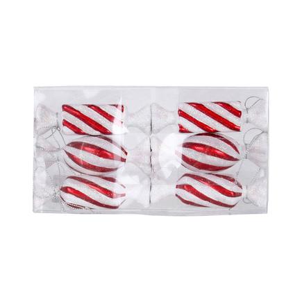 """Striped Bonbon Ornament 4"""" Set of 6 Asst. Peppermint"""