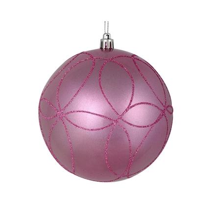 "Viola Ball Ornament 4"" Set of 4 Pink"