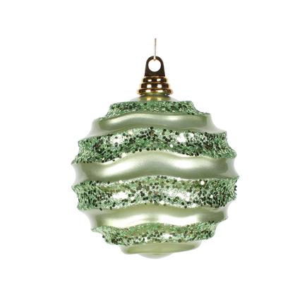 "Wave Ball Ornament 6"" Set of 4 Celadon"