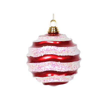 "Wave Ball Ornament 6"" Set of 4 Peppermint"
