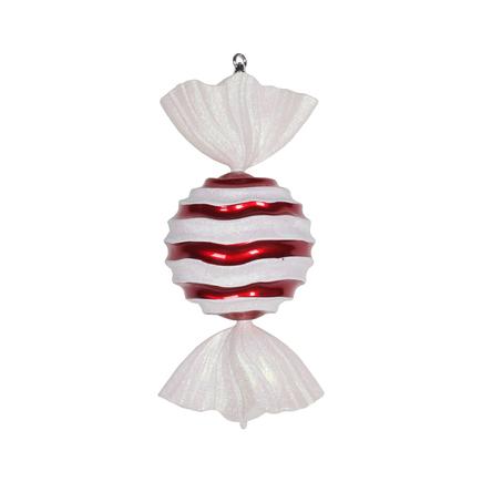 "Wavy Stripe Peppermint Ornament 18.5"" Set of 2"