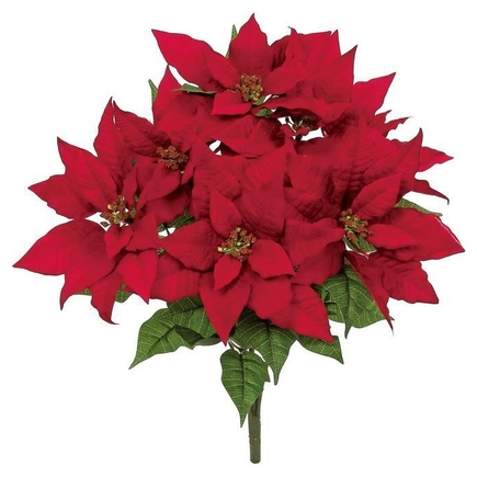 """Star Poinsettia Flowers 23"""" Set of 4 Red"""