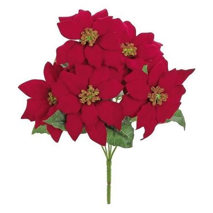 """Velvet Mini Poinsettia Flowers 12.5"""" Set of 12 Red"""