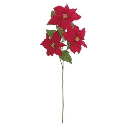"""Velvet Mini Poinsettia Stem 25"""" Set of 3 Red"""