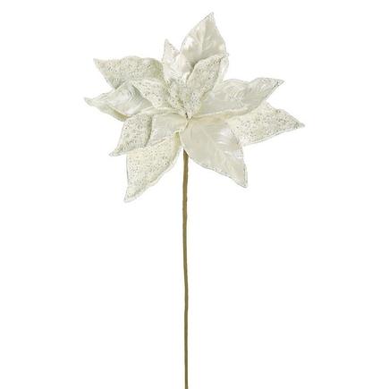 "Pearl Poinsettia Flower 20"" Set of 12 White"