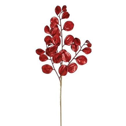 """Metallic Shimmer Leaf Spray 29"""" Set of 12 Red"""