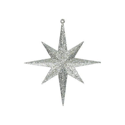 """Small Christmas Glitter Star 8"""" Set of 4 Champagne"""