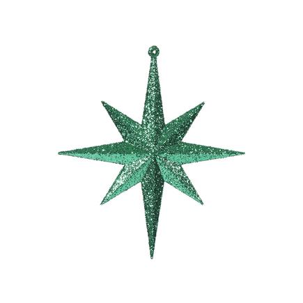 "Medium Christmas Glitter Star 12"" Set of 2 Green"