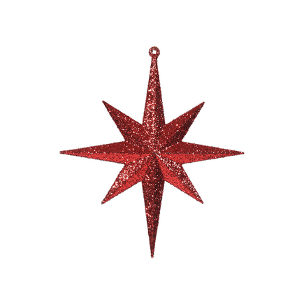 "Small Christmas Glitter Star 8"" Set of 4 Red"