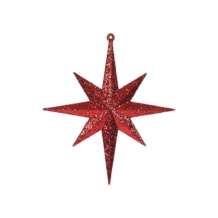 "Medium Christmas Glitter Star 12"" Set of 2 Red"