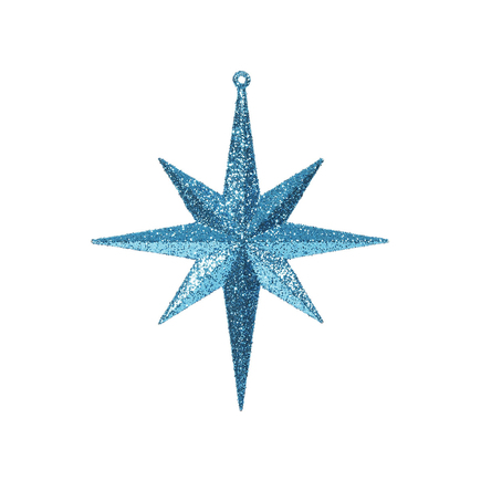 """Medium Christmas Glitter Star 12"""" Set of 2 Teal"""