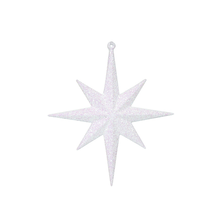 "Large Christmas Glitter Star 15.75"" Set of 2 White"