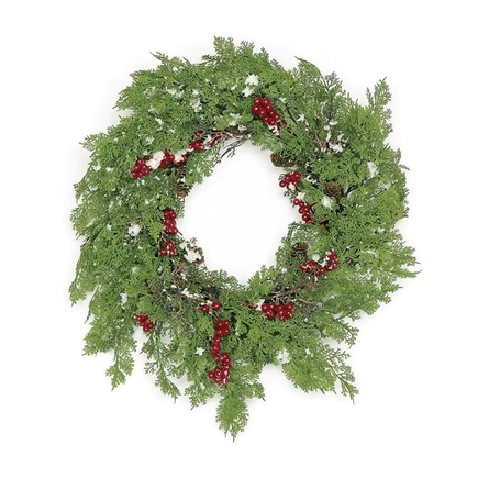 Winter Cedar Wreath 24""
