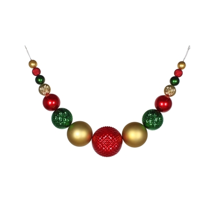 "Zoe Ball Garland 76"" Red/Gold/Green"