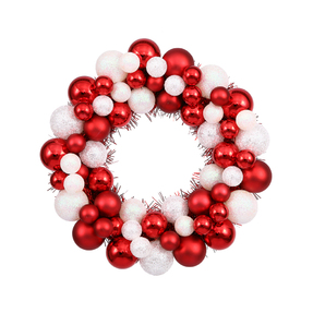 "Christmas Ball Ornament Wreath 12"" Set of 2 Candy"