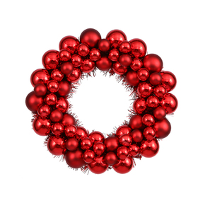 "Christmas Ball Ornament Wreath 12"" Set of 2 Red"
