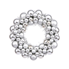 "Christmas Ball Ornament Wreath 12"" Set of 2 Silver"