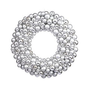 "Christmas Ball Ornament Wreath 24"" Silver"