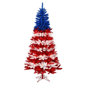 6.5' Red White Blue Fir Slim W/Clear Lights
