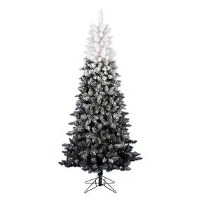 9' Black/White Ombré Fir Slim w/ LED Lights