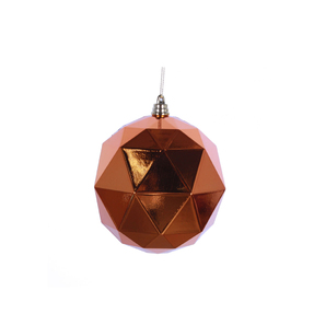 "Aria Geometric Sphere Ornament 6"" Set of 4 Burnished Orange Shiny"