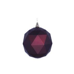 "Aria Geometric Sphere Ornament 6"" Set of 4 Burgundy Matte"