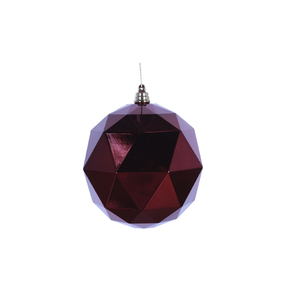 "Aria Geometric Sphere Ornament 6"" Set of 4 Burgundy Shiny"