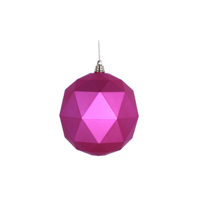"Aria Geometric Sphere Ornament 6"" Set of 4 Fuchsia Matte"