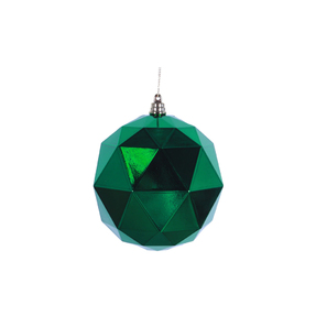 "Aria Geometric Sphere Ornament 6"" Set of 4 Green Shiny"