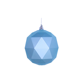 "Aria Geometric Sphere Ornament 6"" Set of 4 Ice Blue Matte"