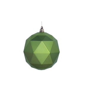 "Aria Geometric Sphere Ornament 6"" Set of 4 Lime Matte"