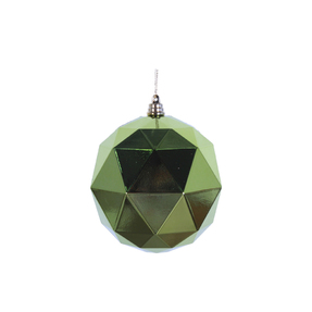"Aria Geometric Sphere Ornament 6"" Set of 4 Lime Shiny"