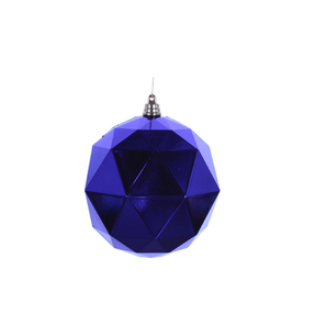 "Aria Geometric Sphere Ornament 6"" Set of 4 Purple Shiny"